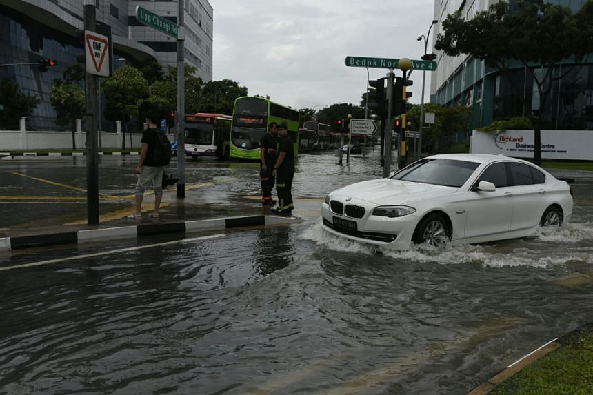 Flash floods occurred in several eastern areas of Singapore, including Bedok (above), after it rained heavily early on Jan 8, 2017.