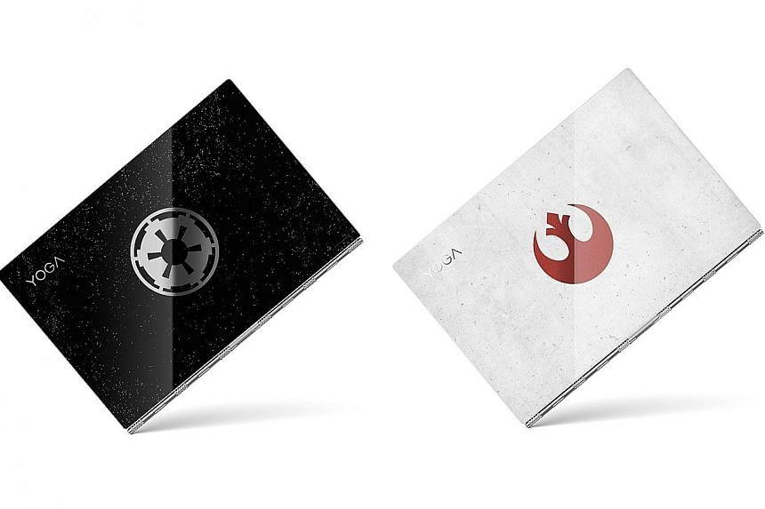 The special edition Yoga is available in two lid variants - a Galactic Empire (far left) or a Rebel Alliance design.