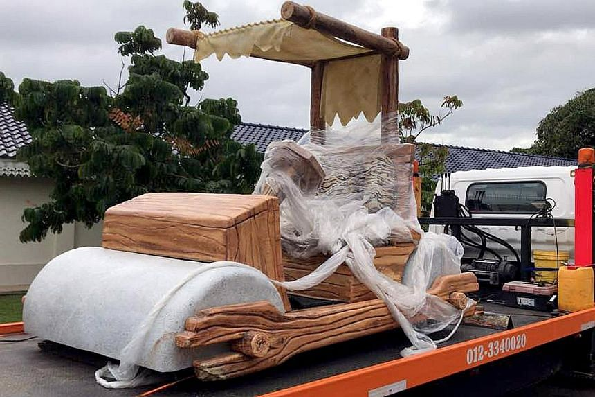 Johor Sultan Ibrahim Sultan Iskandar's new ride, inspired by the car from his favourite cartoon series, The Flintstones, was a gift from Pahang's Regent, Tengku Abdullah Sultan Ahmad Shah.