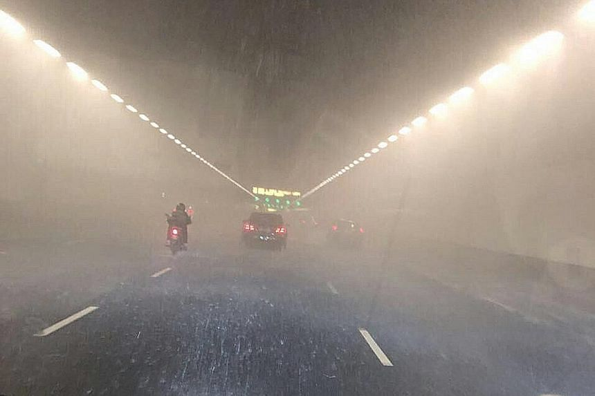A burst water pipe caused water to rain down on vehicles travelling on the eastbound side of the MCE tunnel last night. A section of the tunnel between the Central Boulevard exit and the Marina Boulevard entrance was temporarily closed to traffic.