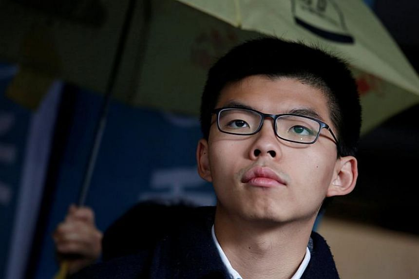 Hong Kong democracy activist Joshua Wong, 21, outside the High Court before receiving his sentence in Hong Kong on Jan 17, 2018.