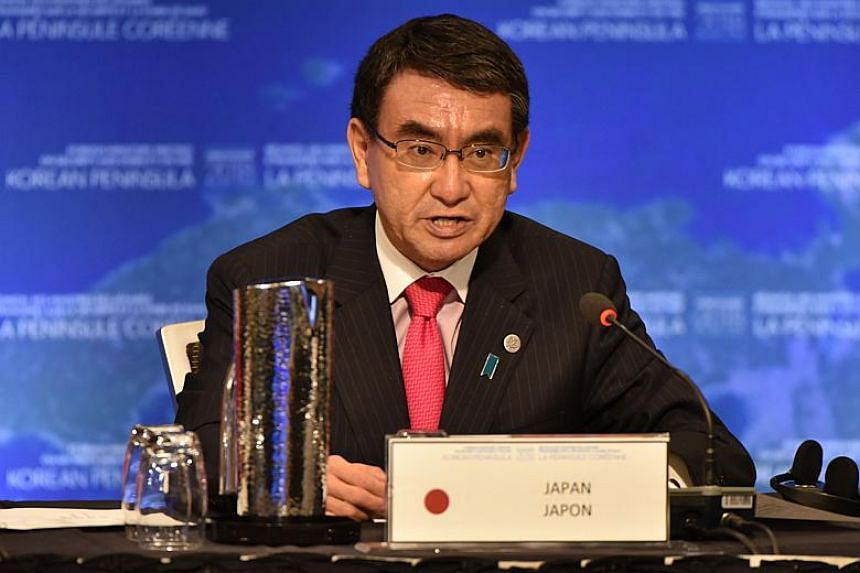 Japan's Foreign Affairs Minister Taro Kono gives opening remarks at the Vancouver Foreign Ministers Meeting on Security and Stability on the Korean Peninsula in Vancouver on Jan 16, 2018.