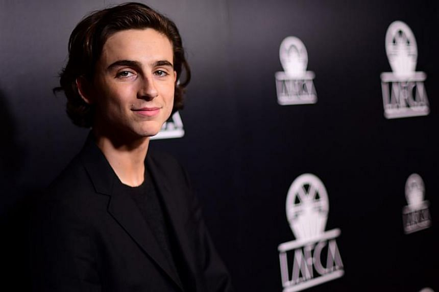 Timothee Chalamet at the 43rd Annual Los Angeles Film Critics Association Awards on Jan 13, 2018.