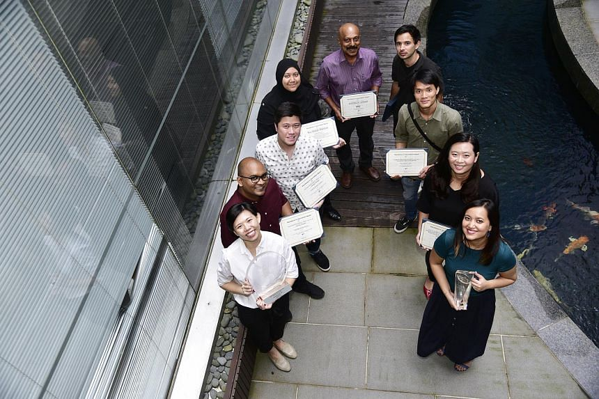 Award winners at SPH's annual EMTM Awards (from left) Jamie Lee, Isaac Netto, Jonathan Ng, Nur Adilah Mahbob, Patrick Jonas, Rodolfo Pazos, Mark Cheong, Janice Tai and Melody Zaccheus.