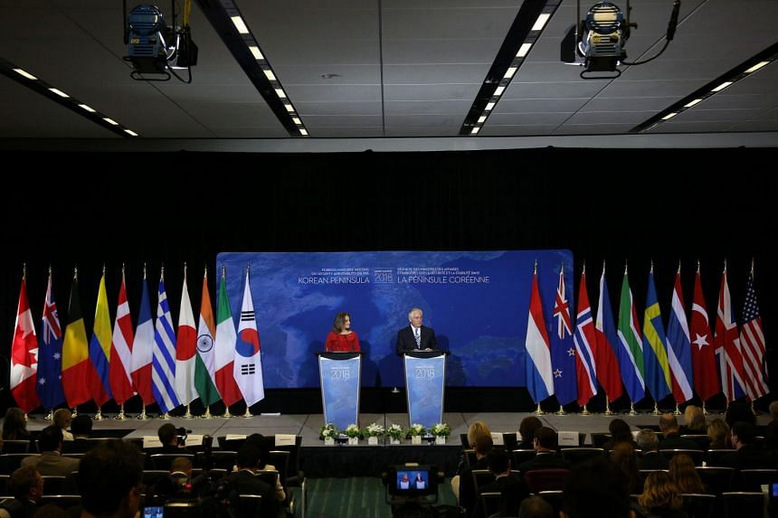 US Secretary of State Rex Tillerson (right) and Canada Foreign Minister Chrystia Freeland speaking at a news conference in Vancouver on Jan 16, 2018.