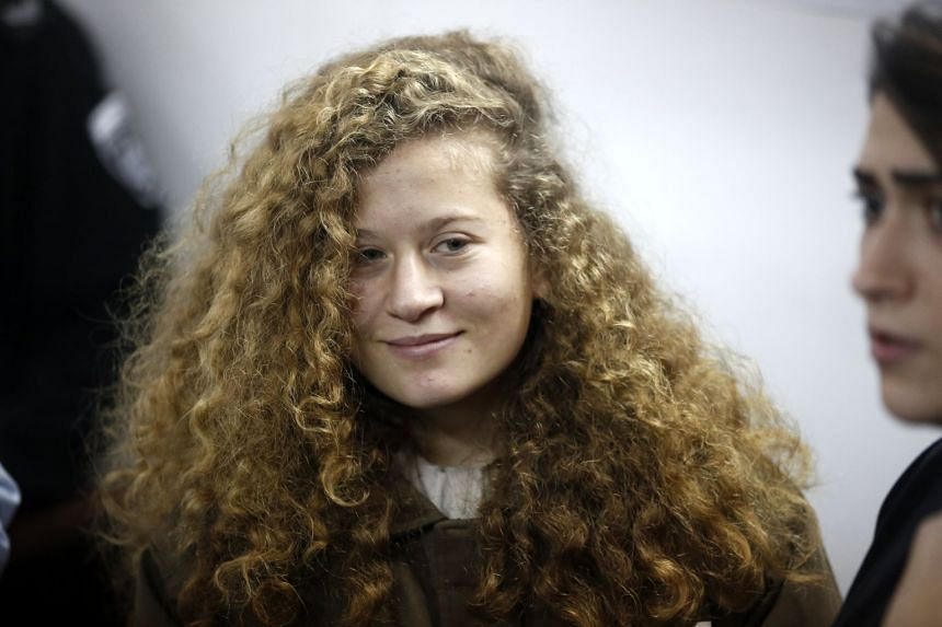 Tamimi appears at the Israeli Ofer military court during a detention hearing on Jan 15, 2018.