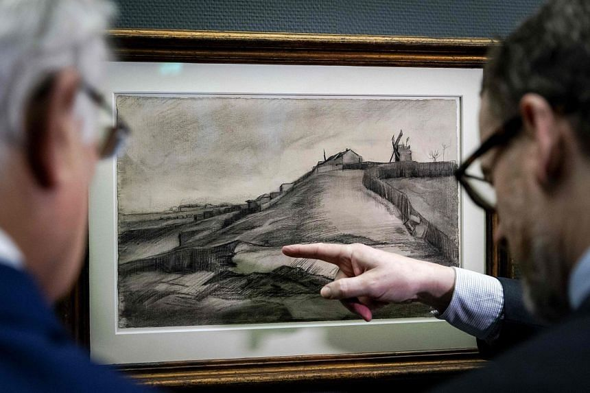 A recently discovered drawing dated from 1886 by Dutch painter Vincent Van Gogh entitled The Hill Of Montmartre With Stone Quarry in the Singer Museum in Laren, Netherlands, on Jan 16, 2018.
