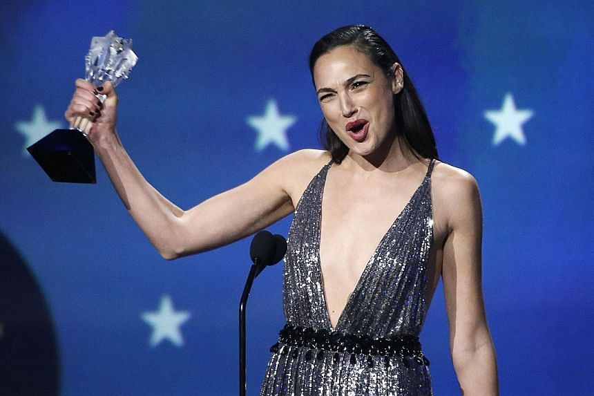 Gal Gadot receiving the #SeeHer award last week at the Critics' Choice Awards in Santa Monica for her performance in Wonder Woman.