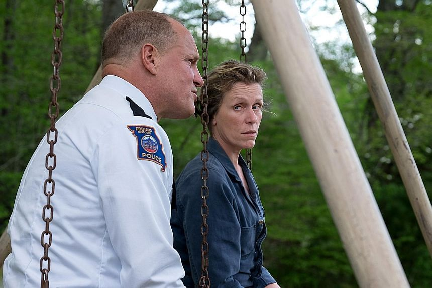 A mother and a cop (Frances McDormand and Woody Harrelson, both above) are wracked with guilt in Three Billboards Outside Ebbing, Missouri.