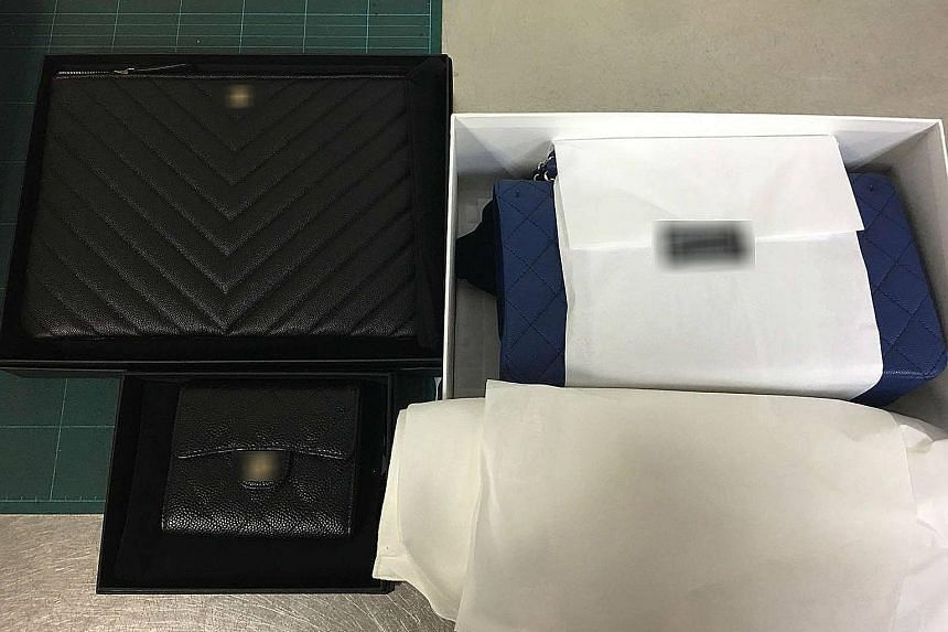 Photos posted on the Singapore Customs Facebook page showed handbags, several wallets and a belt. The 25-year-old Singaporean traveller had tried to exit through the Customs Green Channel at Changi Airport without declaring the branded items, which w