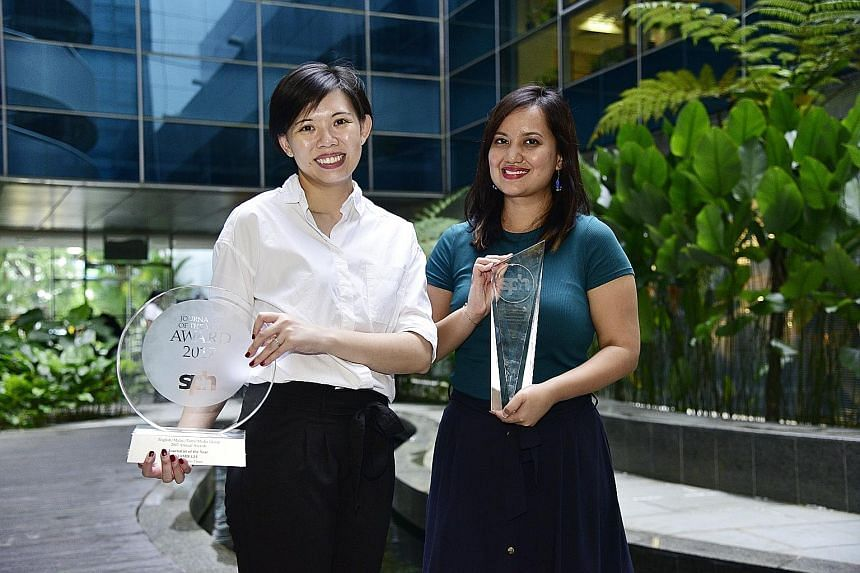 The Business Times' banking correspondent Jamie Lee (far left) bagged the Journalist of the Year award, while The Straits Times' heritage and community correspondent Melody Zaccheus clinched the Story of the Year honour for her coverage of the contro
