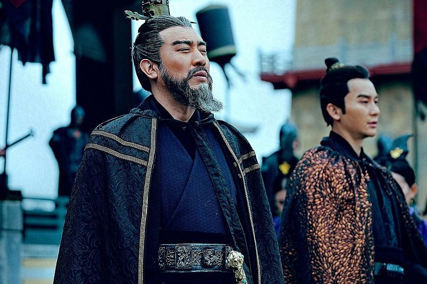 The Advisors Alliance stars Yu Hewei (above left) as general Cao Cao and Li Chen as his son Cao Pi. Right: Lee Seung Gi stars in A Korean Odyssey as the monkey king, protecting a woman (Oh Yeon Seo) from hungry demons.