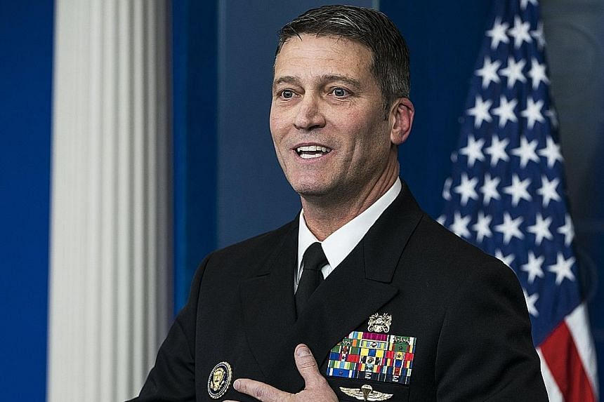 """Dr Ronny Jackson said Mr Trump's cardiac health was excellent, crediting the results to genetics and """"the way God made him""""."""