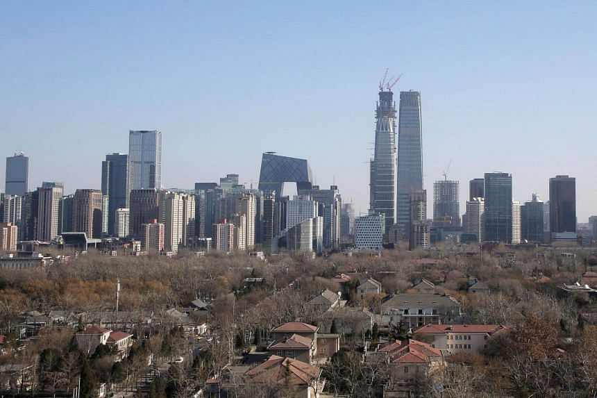 The skyline of Beijing's central business district on a sunny day.