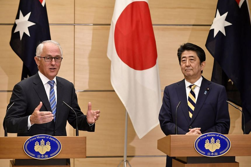 Australian Prime Minister Malcolm Turnbull (left) and Japanese counterpart Shinzo Abe speaking at a press conference in Tokyo on Jan 18, 2018.