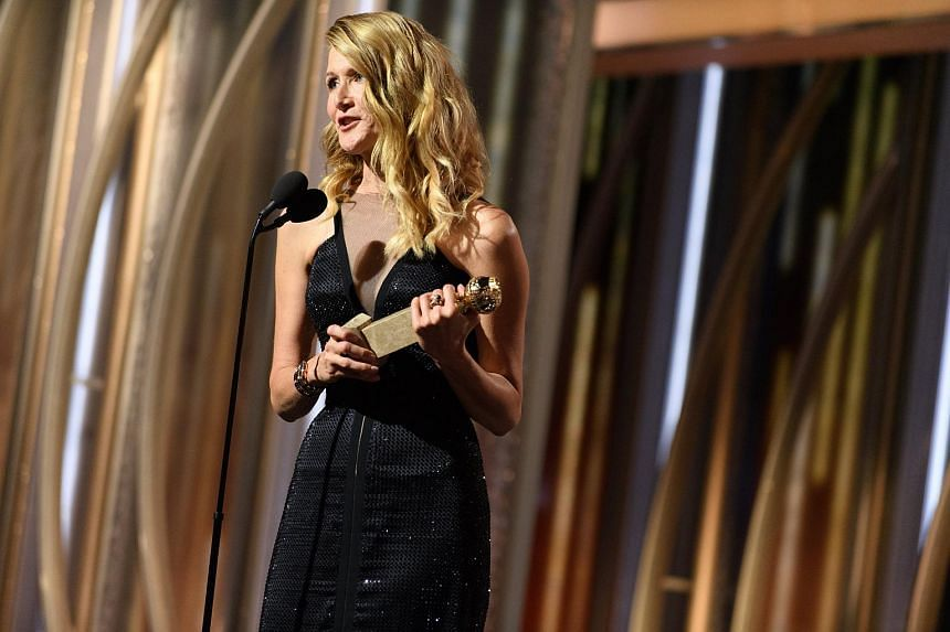 Actress Laura Dern clad in a black dress at the 75th annual Golden Globe Awards ceremony in Beverly Hills, California, on Jan 8, 2018.
