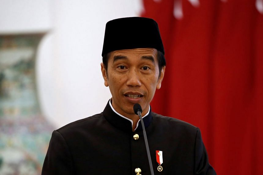Indonesian President Joko Widodo speaking during a news conference at the presidential palace in Bogor, West Java province, Indonesia, on Oct 18, 2017.
