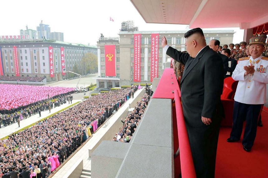 North Korean leader Kim Jong Un waving to people after the military parade in Pyongyang marking the 105th anniversary of the birth of late North Korean leader Kim Il Sung.