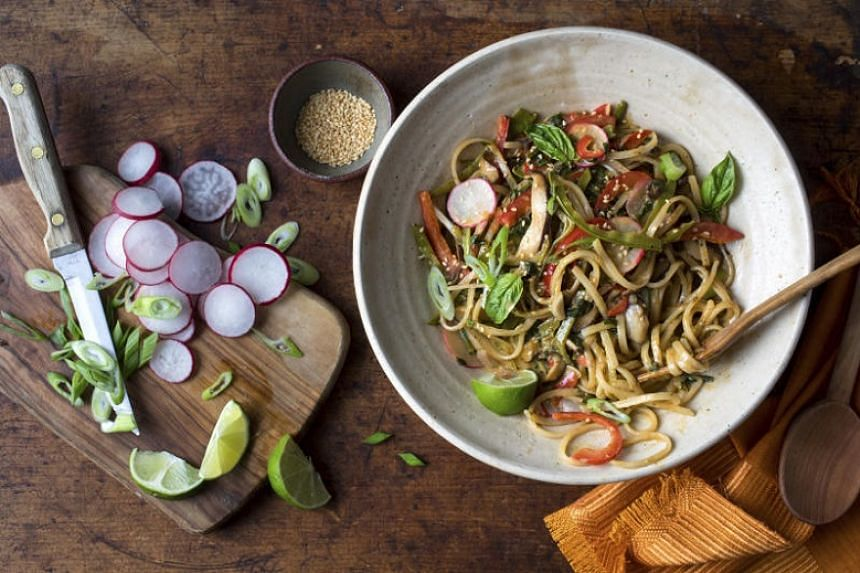 Thai red curry noodles with vegetables.