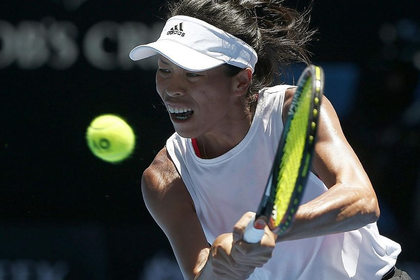 Garbine Muguruza sticking her tongue out in searing conditions at the Rod Laver Arena. The Spanish world No. 3 was also unable to overcome the challenge of Chinese Taipei's Hsieh Su-wei in their second-round match at the Australian Open, becoming the