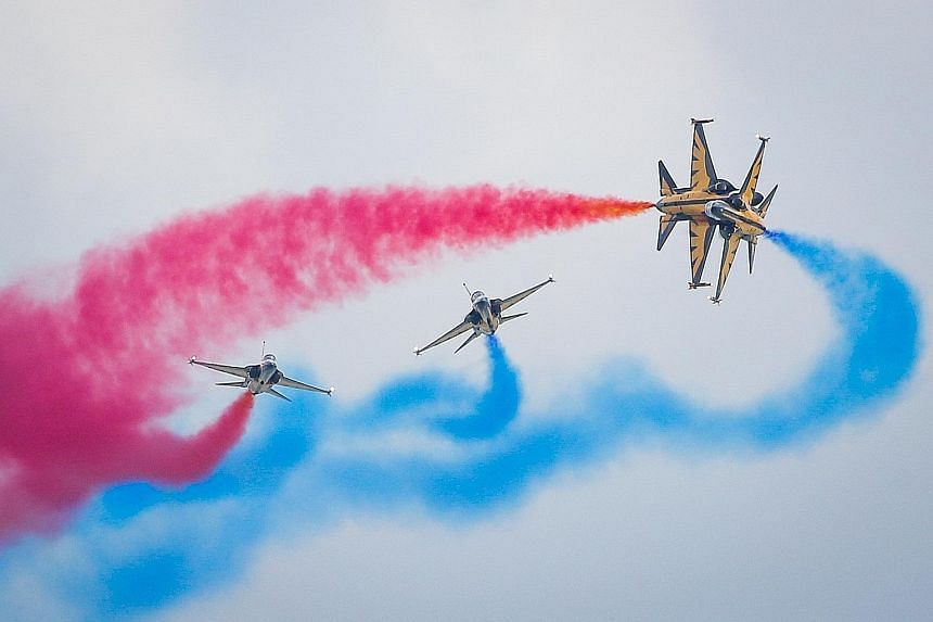 The Black Eagles from South Korea will be returning to thrill the crowds at this year's Singapore Airshow. Visitors will also be treated to an impressive array of advanced avionics in fighter cockpits.