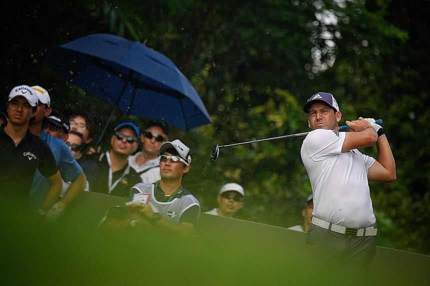 Reigning Masters champion Sergio Garcia of Spain was in top form at yesterday's weather-interrupted opening round of the SMBC Singapore Open at the Sentosa Golf Club. The 38-year-old, ranked 10th in the world, shot a five-under 66 and was tied for th