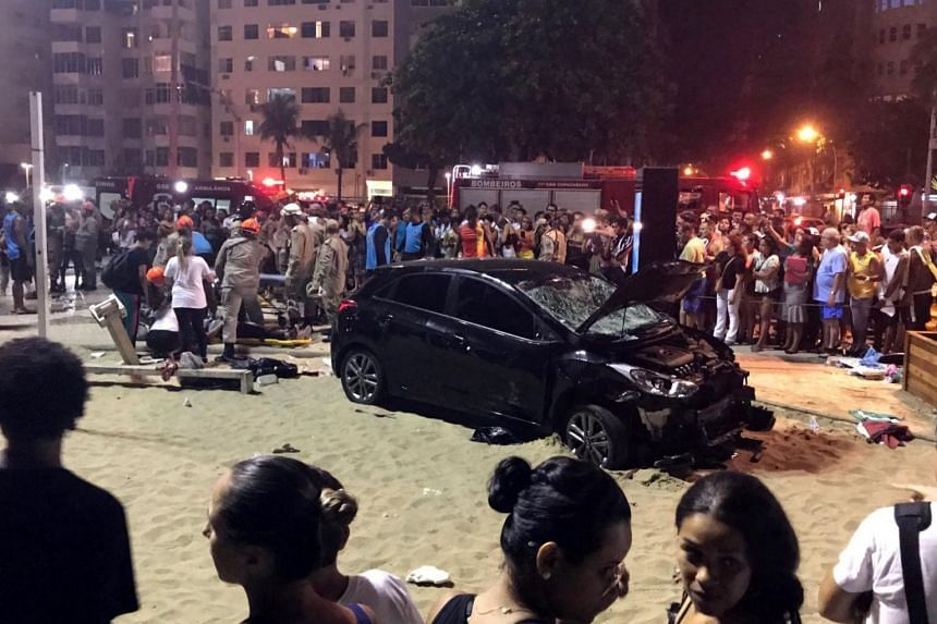 The speeding vehicle that ran over evening strollers on a crowded sidewalk, injuring 15 people and killing an eight-month old baby at Copacabana beach in Rio de Janeiro, Brazil on Jan19, 2018.