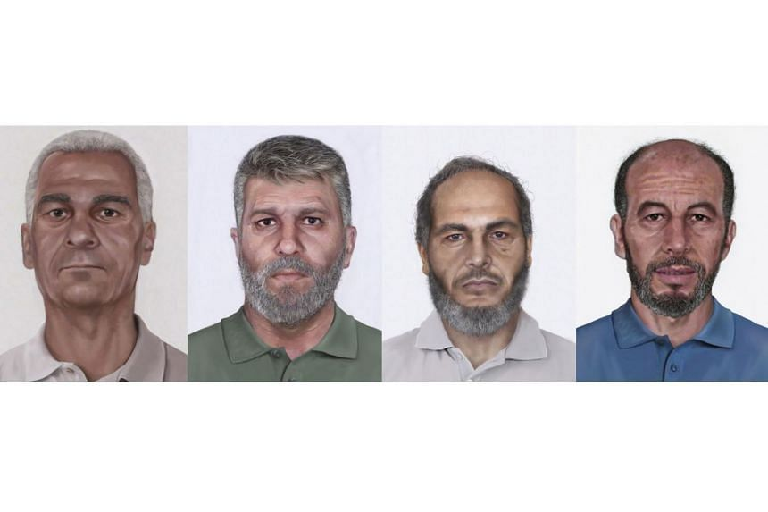 Age-progressed images of (from left) Wadoud Muhammad Hafiz al-Turki, Jamal Saeed Abdul Rahim, Muhammad Abdullah Khalil Hussain ar-Rahayyal, and Muhammad Ahmed al-Munawar, who are wanted by the FBI for their alleged roles in the 1986 hijacking of Pan