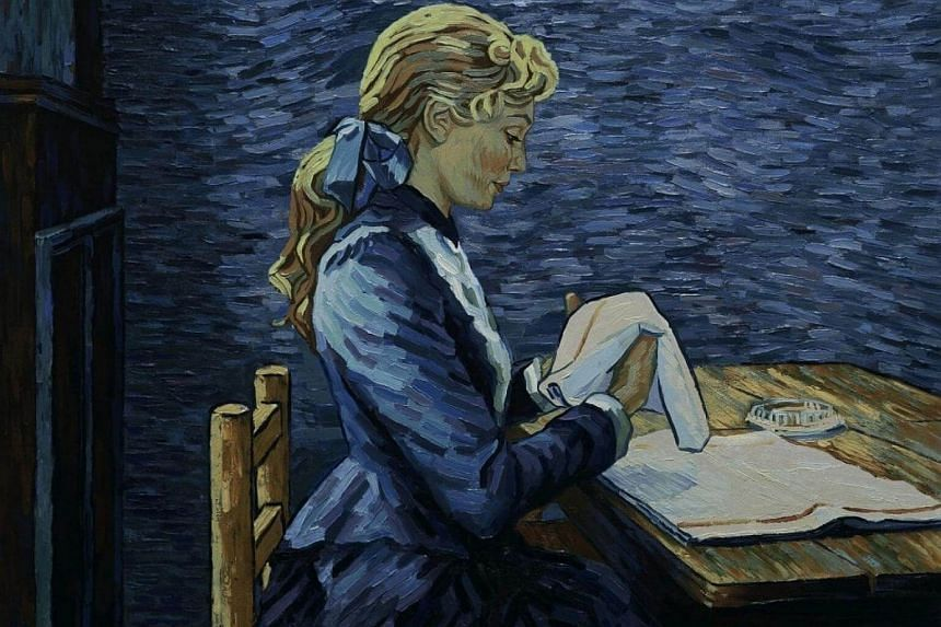 Adeline Ravoux (voiced by Eleanor Tomlinson) folds napkins in the Globe-nominated Loving Vincent.