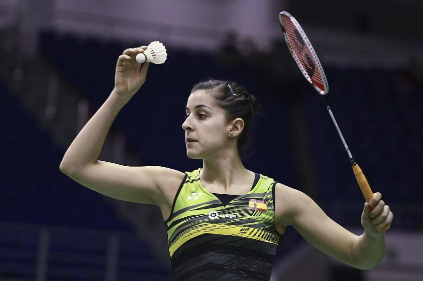Carolina Marin in action during her women's singles first round match against at the BWF Malaysia Masters 2018 tournament, on Jan 17, 2018.