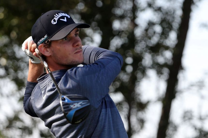 Thomas Pieters of Belgium plays a shot during round two of the Abu Dhabi HSBC Golf Championship.