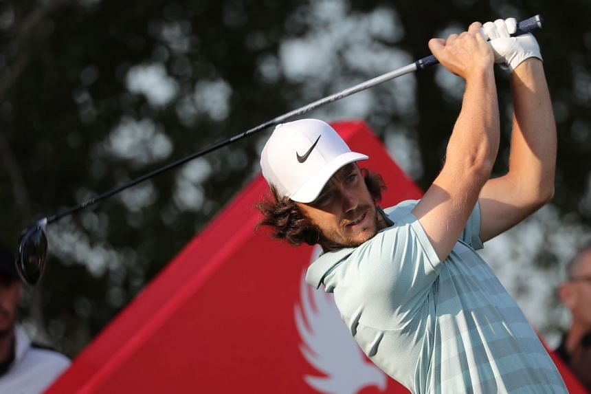 Fleetwood plays during round one of the Abu Dhabi HSBC Golf Championship.