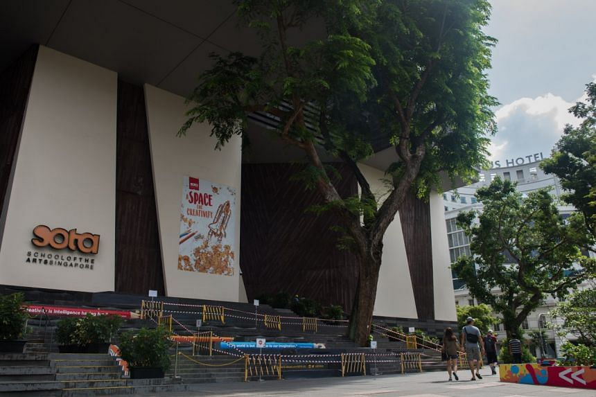 """The Angsana tree outside Sota was barricaded on Jan 19. The tree has """"battled the harsh weather and thunderstorms over the year"""", and had cables installed in 2014 to support and hold it up."""