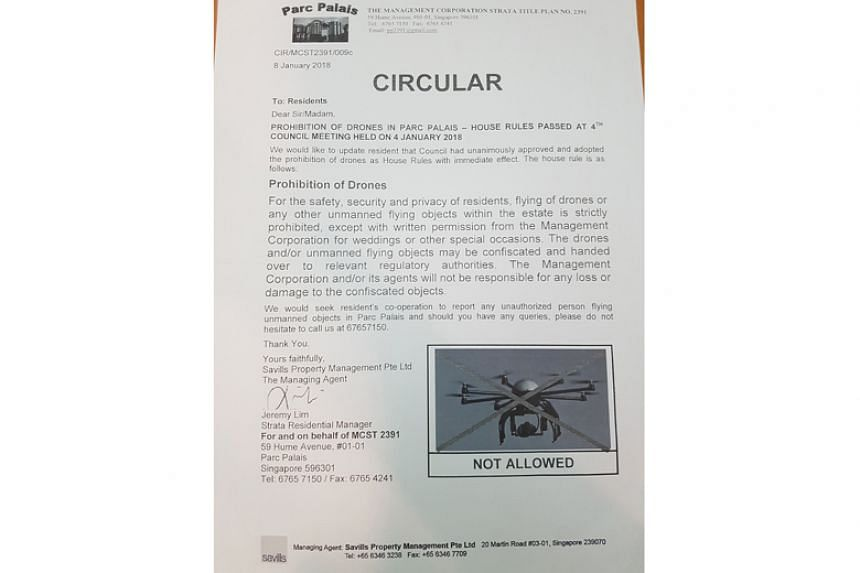 Parc Palais in Hume Avenue has sent out a circular to residents, warning that drones may be confiscated.