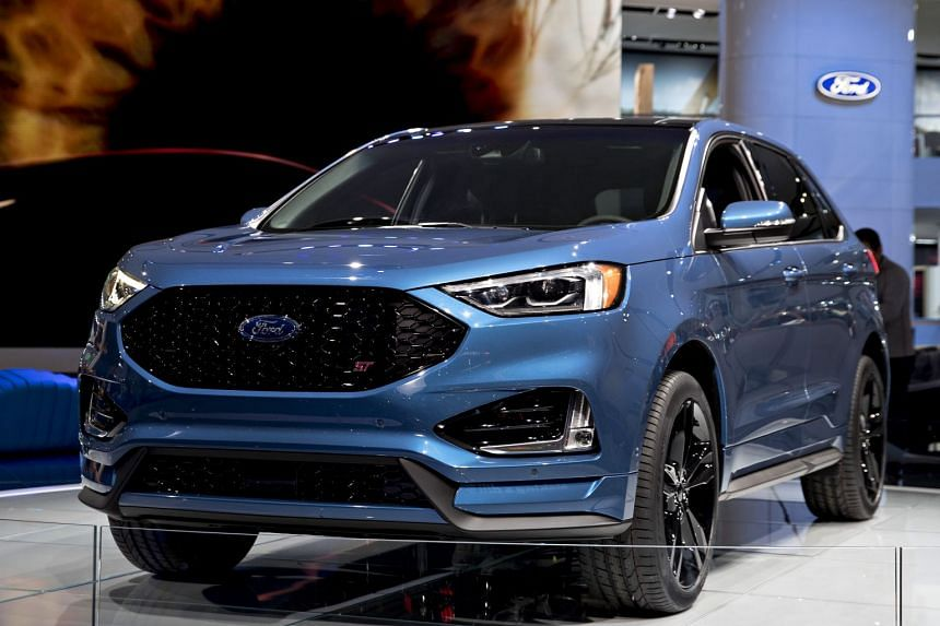 The 2019 Ford Motor Edge ST sport utility vehicle at this year's North American International Auto Show in Detroit.