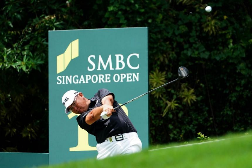 Singapore's Choo Tze Huang teeing off on the second day of the SMBC Singapore Open at Sentosa Golf Club yesterday. The 30-year-old is on three under after two rounds, four shots behind clubhouse leader Chapchai Nirat of Thailand.