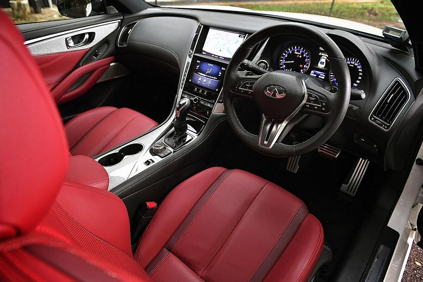The Infiniti Q60 Red Sport 400 is fitted with a 3-litre biturbo V6 packing 400hp.