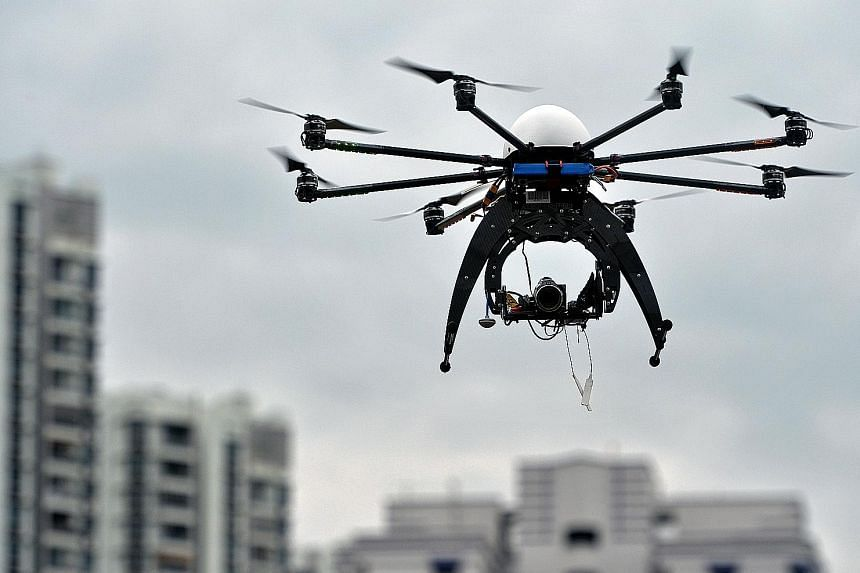 A drone used as part of an inter-agency collaboration for inspecting construction sites in 2016. An ST check found that various condo managements were nearly unanimous in not allowing drones to be used for property listings.