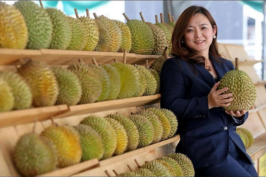 """Ms Anna Teo, nicknamed """"Musang Queen"""" after the popular durian variety, heads Hernan Corporation. The company is today one of Malaysia's main exporters of durians and durian products."""