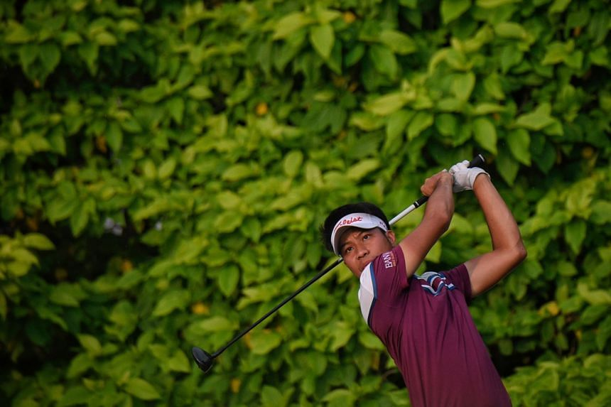 Danthai Boonma of Thailand tees off during the third day of the SMBC Singapore Open at Sentosa Golf Club on Jan 20.