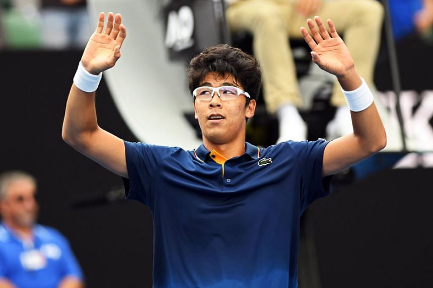 Hyeon Chung of South Korea celebrates after winning his third round match against Alexander Zverev of Germany at the Australian Open in Melbourne on Jan 20.