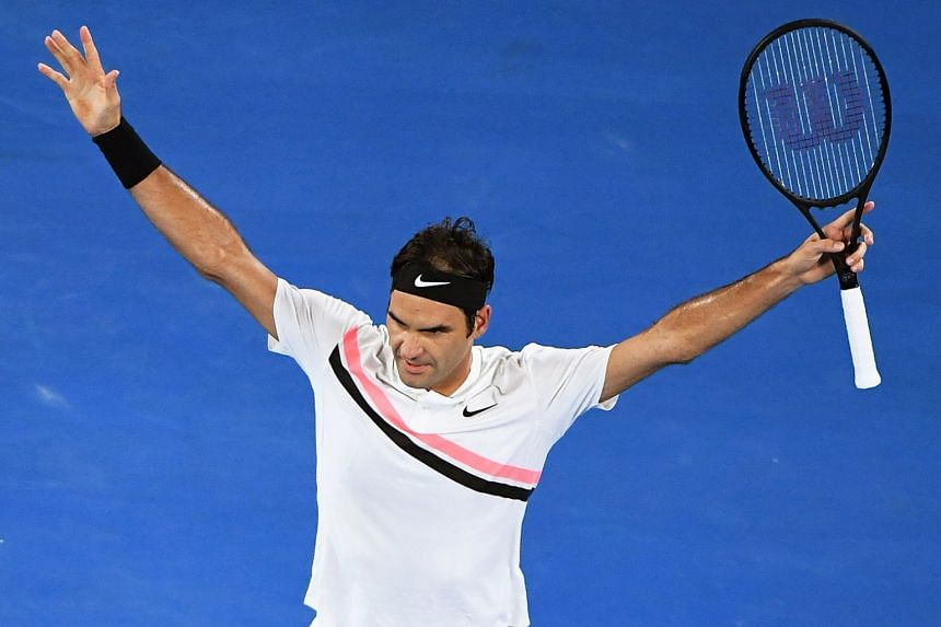 Roger Federer of Switzerland celebrates after winning his third round match against Richard Gasquet of France at the Australian Open in Melbourne on Jan 20.