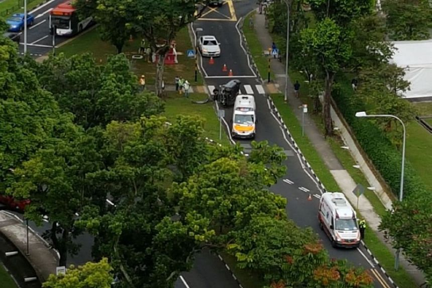 A 22-year-old woman was injured after losing control of her vehicle in Lorong Chuan on Jan 20, 2018.
