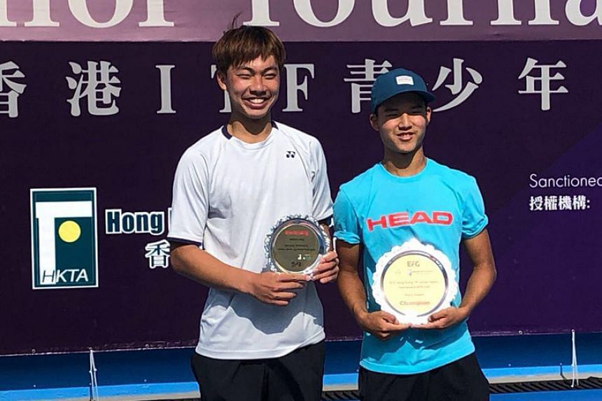 Singaporean tennis player Ethan Lye (right) won his second International Tennis Federation Junior title in Hong Kong on Jan 20. The 16-year-old beat Tsai Chang-lin of Chinese Taipei 7-5 6-2 at the Victoria Park Tennis Court.