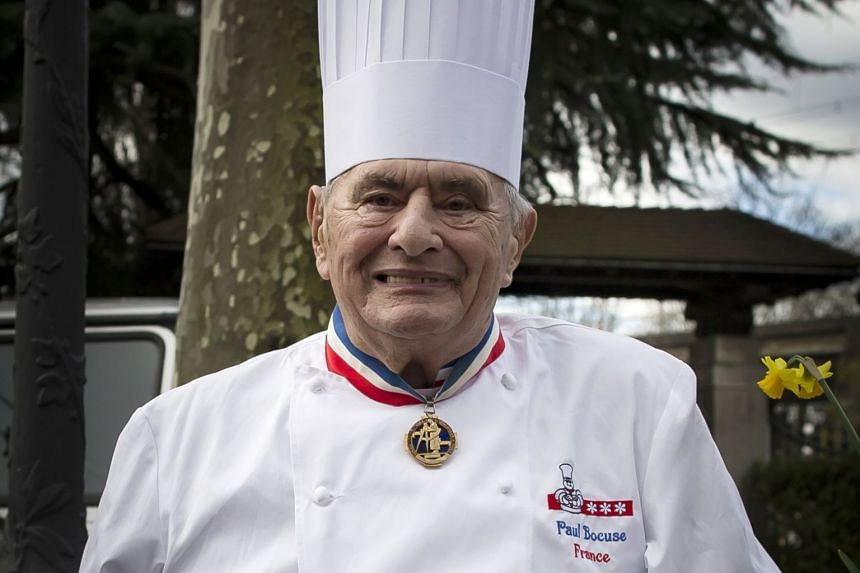 French chef Paul Bocuse at his three-Michelin star restaurant L'Auberge du Pont de Collonges, in Lyon, France, on Feb 10, 2016.