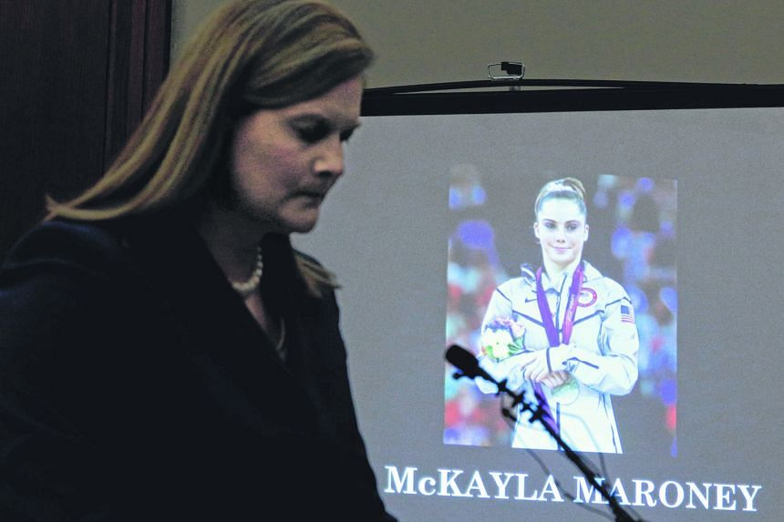 Prosecutor Angela Povilaitis reading a statement for gymnast McKayla Maroney on Thursday during a sentencing hearing for Larry Nassar, the former USA Gymnastics doctor who pleaded guilty in November last year to sexual assault charges.
