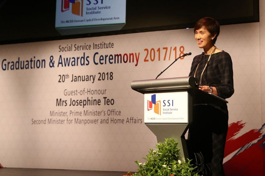 Second Minister for Manpower Josephine Teo speaking at the annual SSI graduation and awards ceremony in Republic Polytechnic on Jan 20.