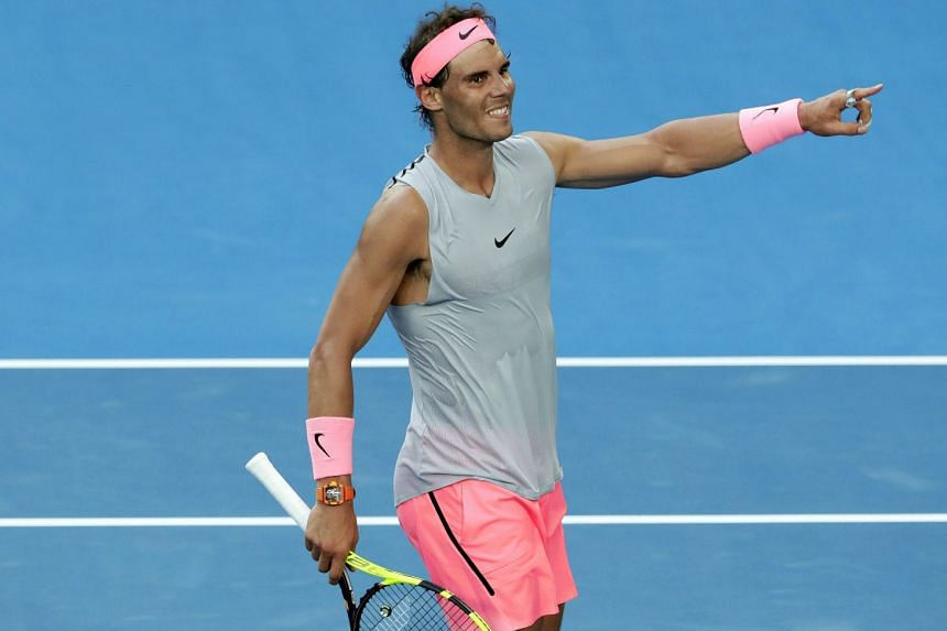 Rafael Nadal of Spain celebrating after winning his fourth-round match against Diego Schwartzman of Argentina at the Australian Open Grand Slam tennis tournament in Melbourne, Australia on Jan 21, 2018.