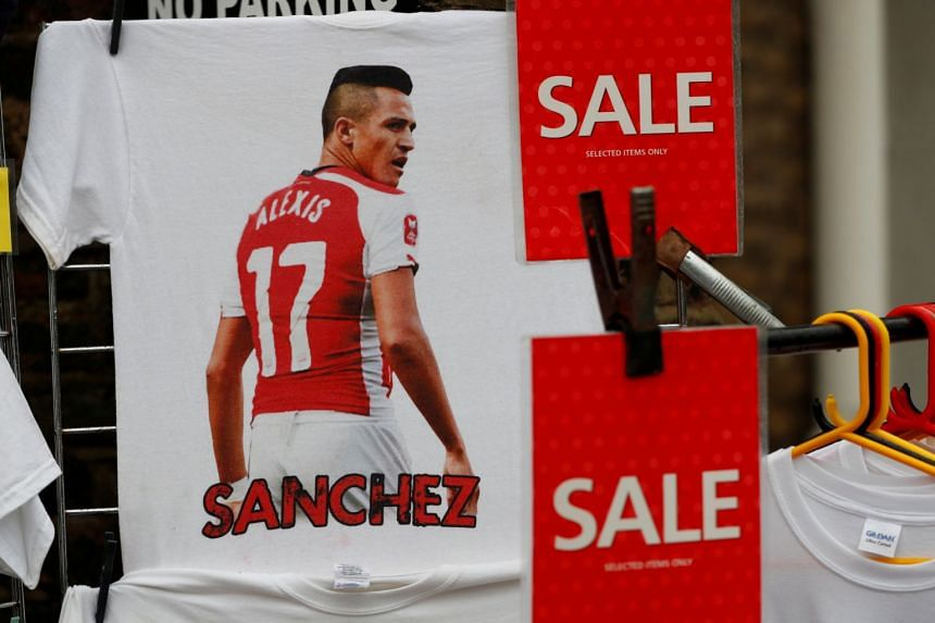 Merchandise featuring Sanchez on sale ahead of Arsenal's match against Crystal Palace.