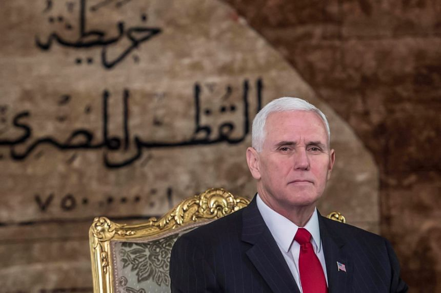 US Vice-President Mike Pence is pictured at the Presidential Palace in Cairo.
